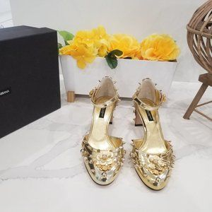 Dolce & Gabbana Gold Leather Floral Studded Women'